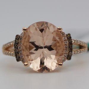 EFFY 14k Rose Gold Oval Morganite And Diamond Ring